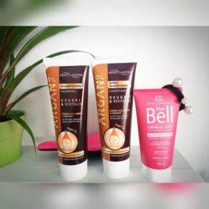 Šampon in balzam z arganom in dnevna krema Hair Bell za lepe in sijoče lase